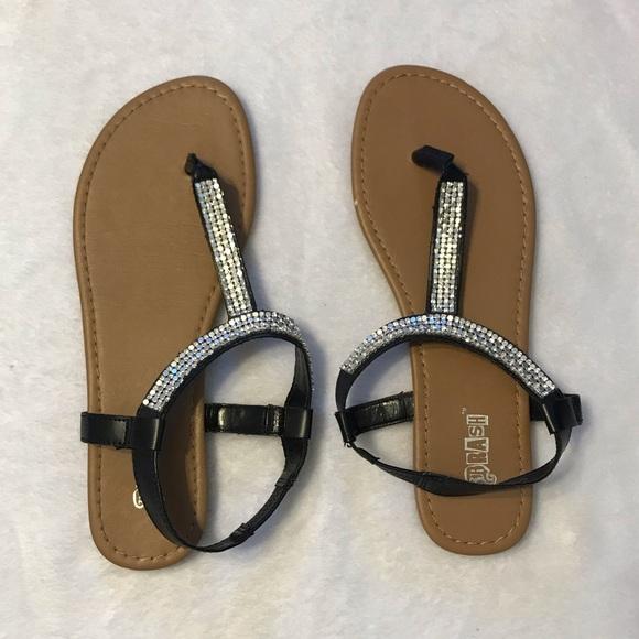 ed7e4776732 Brash Shoes | Black Sandals With Rhinestones | Poshmark